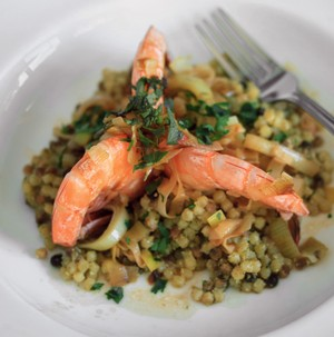 Giant Shrimp with Sardinian Couscous, paired with Palmina Vermentino
