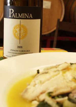 Pinot Grigio Poached Seabass with Fennel and Orange, paired with Palmina Pinot Grigio