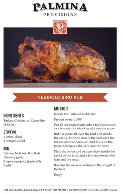 Palmina Nebbiolo Turkey Recipe Card