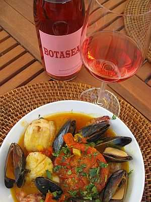 Grilled Cioppino, paired with Palmina Botasea Rosato