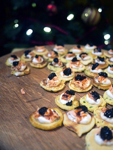 Polenta Blini with Roast Salmon & Caviar